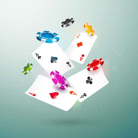 Realistic falling casino chips and poker cards illustration on clean background. Vector gambling concept design.