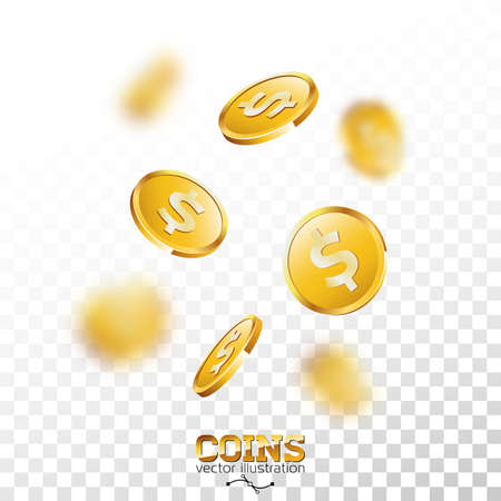 Realistic gold coins illustration on transparent background. Isolated falling coin with dollar sign. Vector success concept design. Illustration