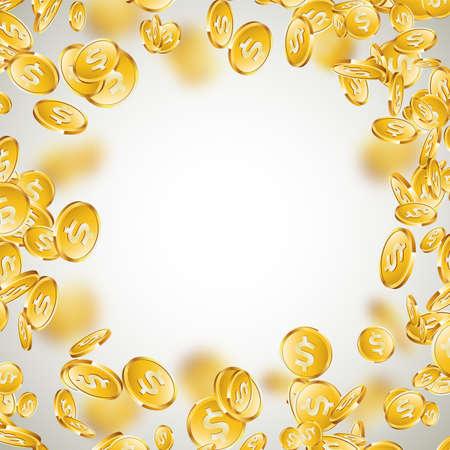 きれいな背景に現実的な金貨のイラスト。ドル記号でコインを落ちる。ベクター成功のコンセプトデザイン。