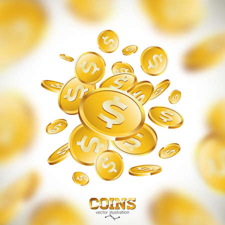 Realistic gold coins illustration on clean background. Falling coin with dollar sign. Vector success concept design.