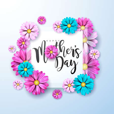 Happy Mothers Day Greeting card with flower on light blue background. Vector Celebration Illustration template with typographic design for banner, flyer, invitation, brochure, poster.
