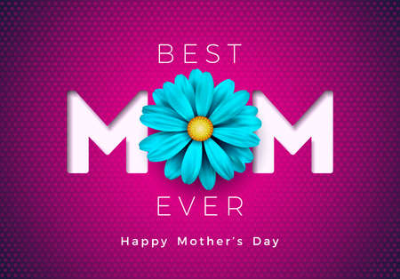 Happy Mothers Day Greeting card illustration with flower and mom typographic design on pink background. Vector Celebration Illustration template for banner, flyer, invitation, brochure, poster.