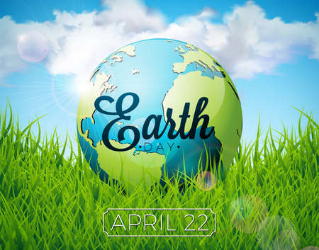 Earth Day illustration with planet and lettering. World map background on april 22 environment concept. Vector design for banner, poster or greeting card Illusztráció