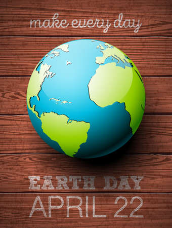 Earth Day illustration with planet and lettering. World map background on april 22 environment concept. Vector design for banner, poster or greeting card Vectores
