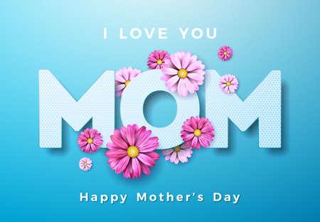 Diseño de tarjeta de felicitación de feliz día de las madres con flores y elementos tipográficos te amo mamá sobre fondo azul. Plantilla de ilustración de celebración de vector para pancarta, folleto, invitación, folleto, cartel
