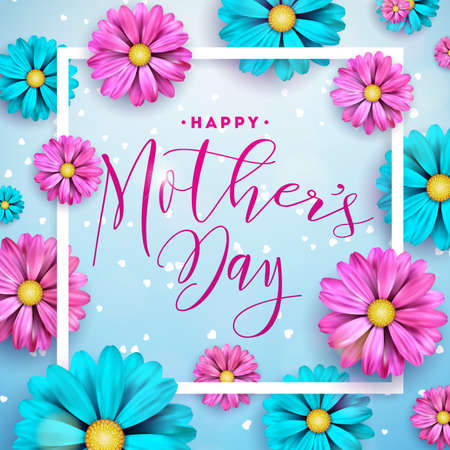 Happy Mothers Day Greeting card design with flower and typographic elements on blue background. Vector Celebration Illustration template for banner, flyer, invitation, brochure, poster
