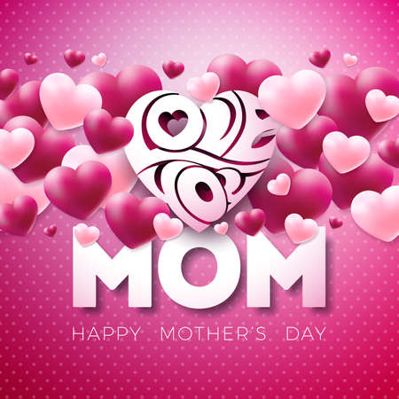Happy Mothers Day Greeting card design with heart and Love You Mom typographic elements on red background. Vector Celebration Illustration template for banner, flyer, invitation, brochure, poster. Stockfoto - 98865935