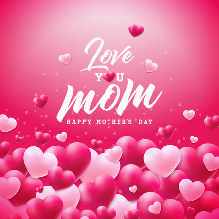 Happy Mothers Day Greeting card design with heart and Love You Mom typographic elements on red background. Vector Celebration Illustration template for banner, flyer, invitation, brochure, poster Stock Illustratie