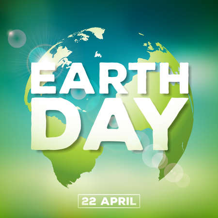 Earth Day illustration with planet and lettering. World map background on april 22 environment concept. Vector design for banner, poster or greeting card.