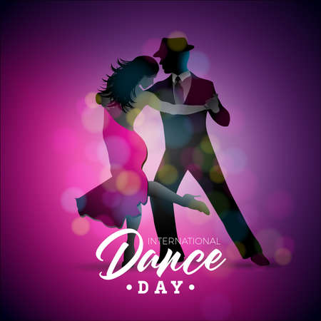 International Dance Day Vector Illustration with tango dancing couple on purple background. Vettoriali