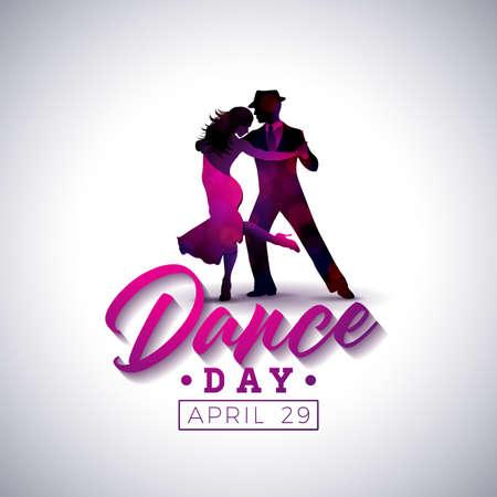Illustrazione di vettore di giorno internazionale di ballo con le coppie di dancing di tango su fondo bianco. Modello di progettazione per banner, flyer, invito, brochure, poster o cartolina d'auguri. Archivio Fotografico - 98894141