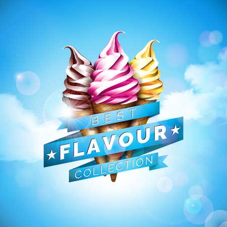 Illustration de crème glacée avec un délicieux dessert et ruban étiqueté sur fond de ciel bleu. Modèle de conception de vecteur pour bannière promotionnelle ou affiche avec vanille, chocolat, punch.