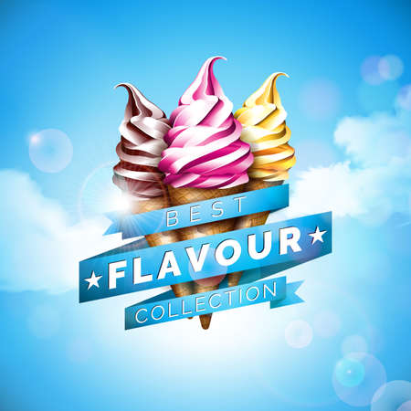 Ice cream illustration with delicious dessert and labelled ribbon on blue sky background. Vector design template for promotional banner or poster with vanilla, chocolate, punch. Vettoriali