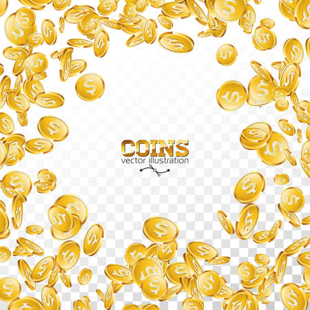 Realistic gold coins illustration on transparent background. Isolated falling coin with dollar sign. Vector success concept design. Vettoriali