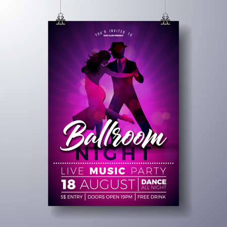 Ballroom Night Party Flyer illustration with couple dancing tango on purple background. Vector design template for invitation poster, promotional banner, brochure, or greeting card. Banque d'images - 98911670