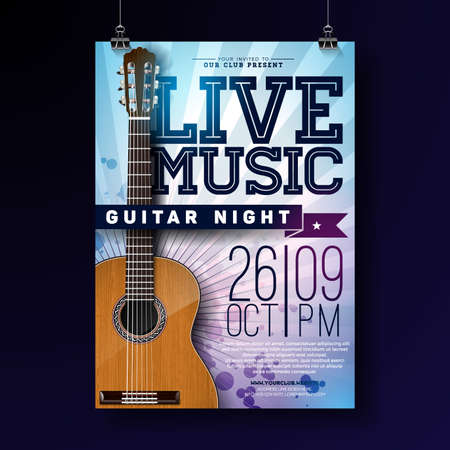 Live music flyer design with acoustic guitar on grunge background. Vector illustration template for invitation poster, promotional banner, brochure, or greeting card.