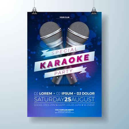 Vector karaoke poster illustration 일러스트