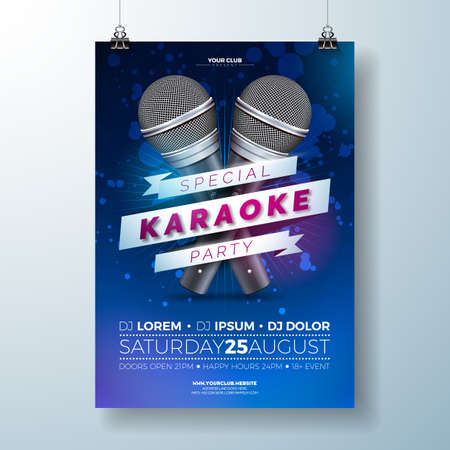 Vector karaoke poster illustration Çizim