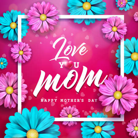 Happy Mothers day greeting card design with flower and typographic elements on red background. I love you mom vector celebration illustration template for banner, flyer, invitation, brochure, poster. Illustration