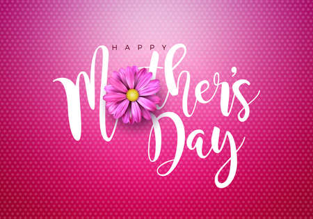 Happy Mothers Day Greeting card illustration with flower and typographic design on red background. Vector Celebration Illustration template for banner, flyer, invitation, brochure, poster.