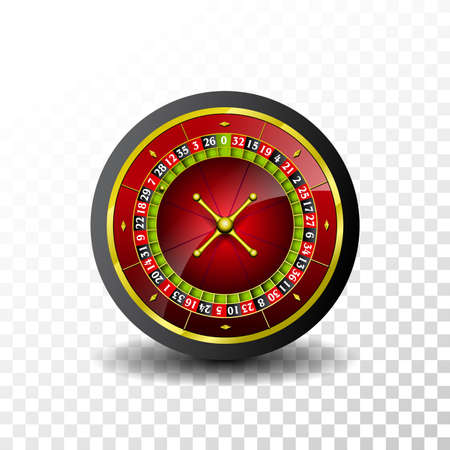 Casino Illustration with roulette wheel