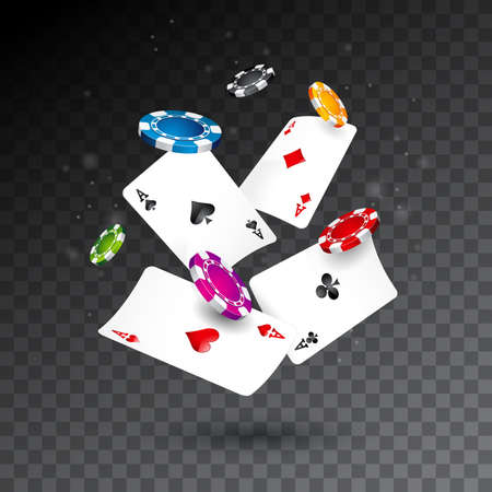 Realistic falling casino chips and poker cards illustration on transparent background vector gambling concept design.