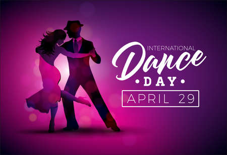 International Dance Day Vector Illustration with tango dancing couple