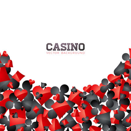 Casino playing card symbols on white background. Vector Gambling isolated floating design element. Illustration