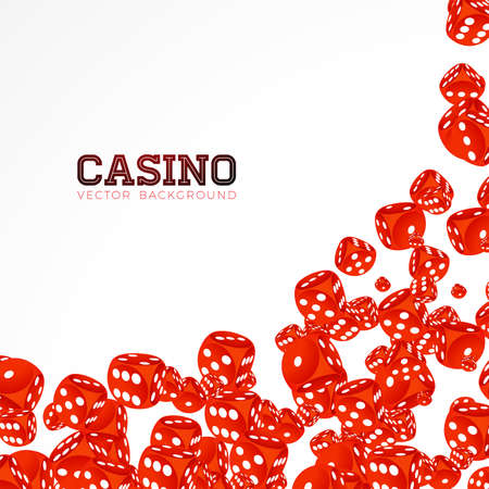 Casino illustration with floating dices on white background. Vector gambling isolated design element. Stockfoto - 99081192