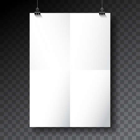 Vector poster mockup template with folded paper sheet on transparent background.