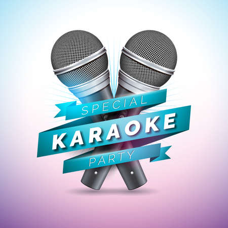 Vector Flyer illustration on a Karaoke Party theme with microphones and ribbon on violet background. Иллюстрация