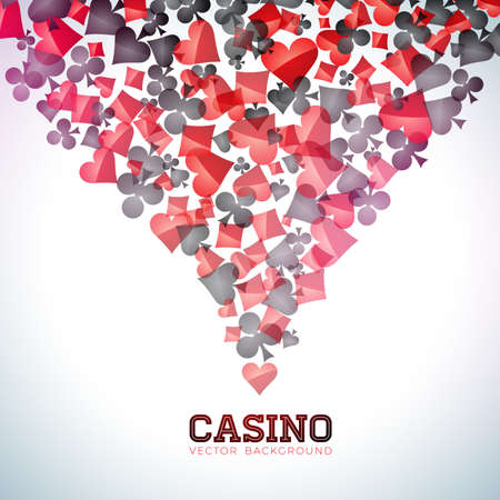 Casino playing card symbols on white background. Vector Gambling isolated floating design element. 矢量图像