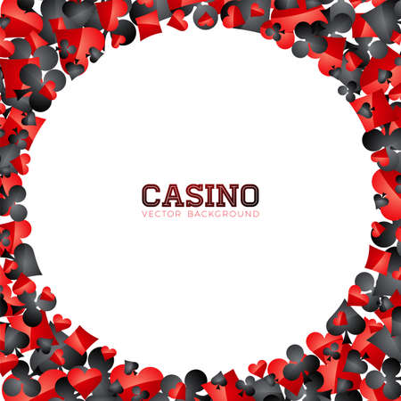 Casino playing card symbols on white background. Vector Gambling isolated floating design element. Illustration