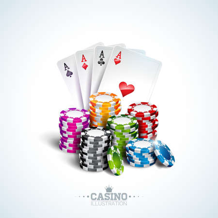 Illustrazione vettoriale su un tema di casinò con carte da poker e giocare a chip su sfondo bianco. Gioco d'azzardo per invito o banner promozionale.