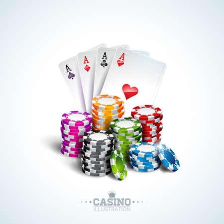 Ilustracja wektorowa na temat kasyna z kartami do pokera i żetonami do gry na białym tle. Projekt hazardu na zaproszenie lub baner promocyjny.
