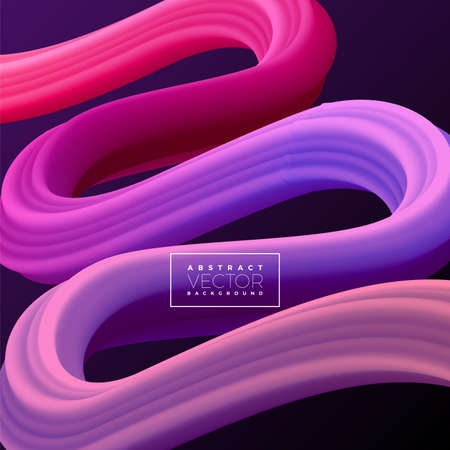 Abstract 3D Colorful Curve Line Background. Vector Liquid Fluid Artistic Color Illustration.