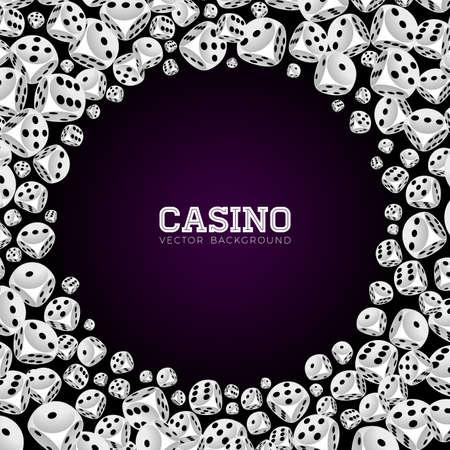 De casinoillustratie met het drijven dobbelt op witte achtergrond. Vector gokken geïsoleerde ontwerpelement.
