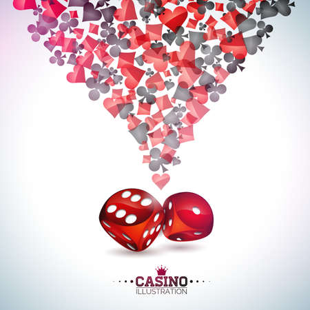 Casino playing card symbols on white background.