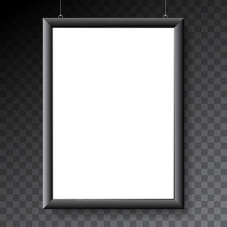 Vector poster mock-up template with black metal frame on transparent background.