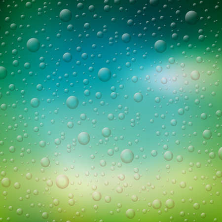 Vector water drops illustration on blurred nature background. Ilustracja