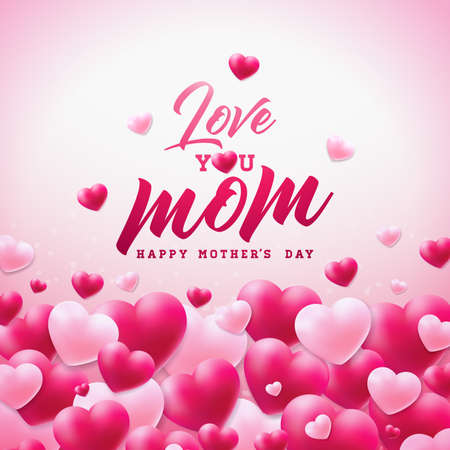 Happy Mothers Day Greeting card design with heart and Love You Mom typographic elements on white background. Vector Celebration Illustration template for banner, flyer, invitation, brochure, poster