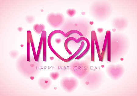 Happy Mothers Day Greeting card illustration with Mom typographic design and hearth symbol on white background. Vector Celebration Illustration template for banner, flyer, invitation, brochure, poster Stockfoto - 99818448