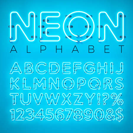 Bright Neon Alphabet on Blue Background. Vector Letter, Number and Symbol with Shiny Glow Effect Layered Separated Characters. Font Design template for Your Text, Decoration, Banner, Flyer or Promotional Party Poster.