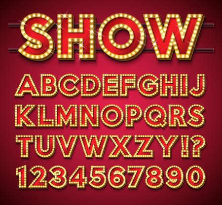 Glühbirnen-Alphabet mit Goldrahmen und Schatten auf rotem Hintergrund. Leuchtende Retro-Vektor-Schriftsammlung mit glänzenden hellen Lichtern. ABC- und Nummerndesign für Casino, Nachtclub oder Kino. Geschichtete getrennte Zeichen. Vektorgrafik