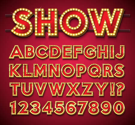 Light Bulb Alphabet with gold frame and shadow on red backgrond. Glowing retro vector font collection with shiny bright lights. ABC and number design for casino, night club or cinema. Layered Separate