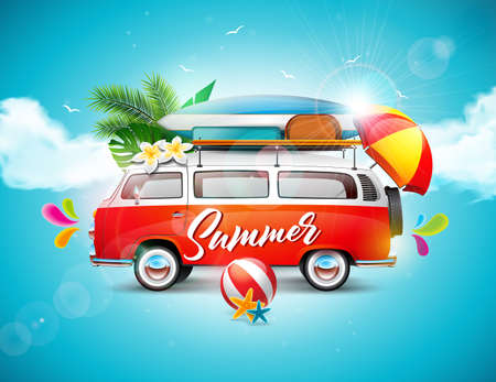 Vector Summer Holiday illustration on blue sky and cloud background. flower, travel van, surf board and umbrella..