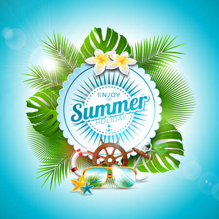 Vector Enjoy the Summer Holiday typographic illustration on white badge and tropical plants background. Flower, sunglasses and marine elements with blue sky. Design template for banner, flyer, invitation, brochure, poster or greeting card
