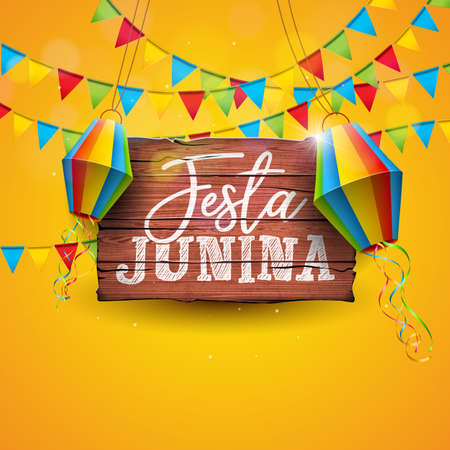 Festa Junina Illustration with Party Flags and Paper Lantern on Yellow Background. Vector Brazil June Festival Design for Greeting Card, Invitation or Holiday Poster. Standard-Bild - 101000459