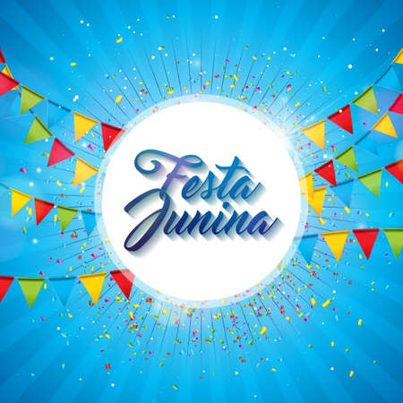 Festa Junina Illustration with Party Flags and Paper Lantern on Yellow Background. Vector Brazil June Festival Design for Greeting Card, Invitation or Holiday Poster.