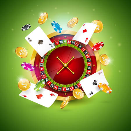 Vector illustration on a casino theme with roulette wheel, poker cards and playing chips on green background. Gambling design for invitation or promo banner